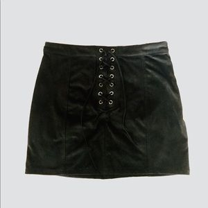 Los Angelos Faux Suede Lace Up Mini Skirt